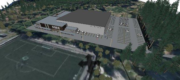 Den nye idrettshallen på Husnes er skissert, men ikkje endeleg planlagt. (Arkivfoto).
