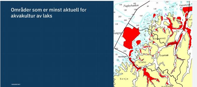 TROSSER FAGLIGE RÅD: Fiskeridirektoratet viste i et webinar i november kart over områder som er minst aktuell for mer fiskeoppdrett. To anlegg er nylig utvida innafor rødt felt, Langås ved Ringvassøyas østside og Larstangen ved Vannøyas østside.