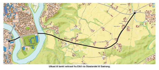 AVLASTNING: En avlastningstrasé  mellom Eikli og  Sætrang vil avlaste bytrafikken, mener Geir Aspheim.