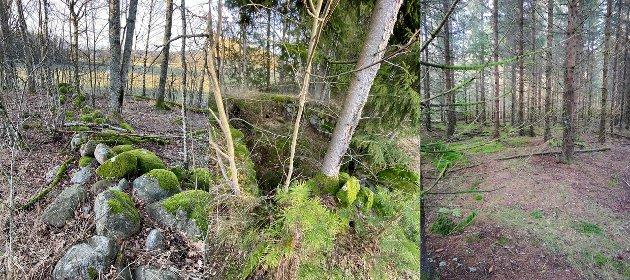KULTURMIINNER: Gravheug, steingjerde og rester av gammel grunnmur på Rauan.