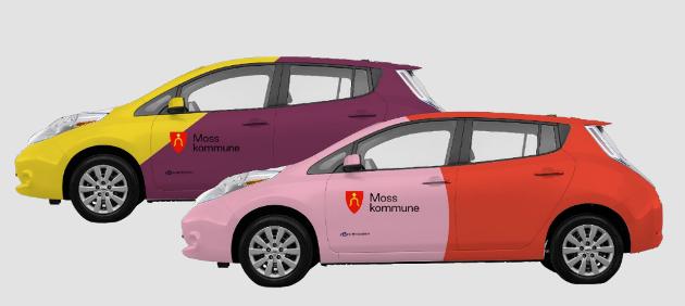Moss kommune sine biler skal enten få den nye logoen - eller få en helt ny folie basert på den nye visuelle profilen. Her vises design av helfolierte biler hvor de geometriske formene er brukt som store fargefelt og gjør bilen svært synlig på veiene rundt i kommunen.