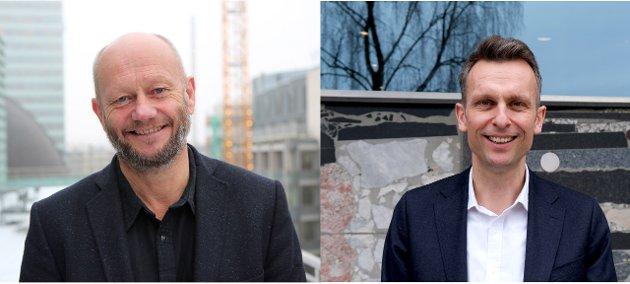 Stein Lier-Hansen, administrerende direktør, Norsk Industri og Knut Kroepelien, administrerende direktør, Energi Norge