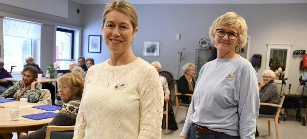 Aktivitetsavdelingen: Gunn Berås Bodin og Inger Marit Torp frykter konsekvensene for de eldre dersom tilbudet kuttes.