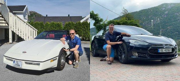 BIL OG MDG: 5.-kandidat for dei Grøne Geir Arne Solheim (Chevrolet Corvette, 1984-modell) og  1.-kandidat Marius Langballe Dalin (Tesla model S, 2015-modell).