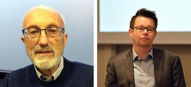 Knut Bjørn Lindkvist inviterer rådmann Raymond Robertsen på kaffebesøk på Vågenstua.