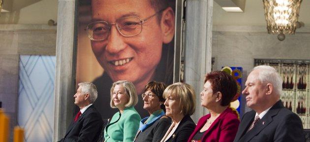 Bare på bilde: Liu Xiaobo fikk Nobels fredspris, men for dagens regjering er handel med Kina viktigere enn dissidentens menneskerettigheter.Foto: NTB Scanpix