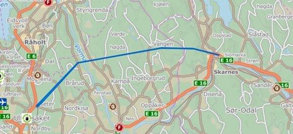 NY TRASE: Kronikkforfatteren ber ordførere i Ullensaker, Nes, Sør-Odal og Kongsvinger om å vurdere en mer nordli trase for E16-prosjektet enn det som tidligere er vurdert.