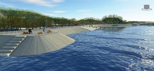 FOLKELIV: Her skal det være mulig å skape folkeliv ved fjorden.