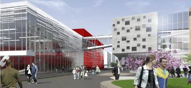 Viktig: Det foreligger allerede tegninger for hvordan en Arena Fredrikstad kan kombineres med en ny videregående skole. Realiseringen av disse to prosjektene vil være noe av det viktigste som skjer i Fredrikstad på mange år.Illustrasjon: Link Arkitektur for Værste