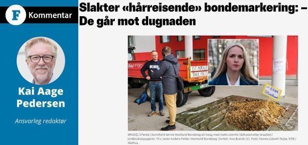 HÅRREISANDE? Å stemple ein fredeleg aksjon i ein småby på Vestlandet som stinkande og hårreisande, vil neppe hjelpe Venstre over sperregrensa, skriv Firda-redaktør Kai Aage Pedersen.