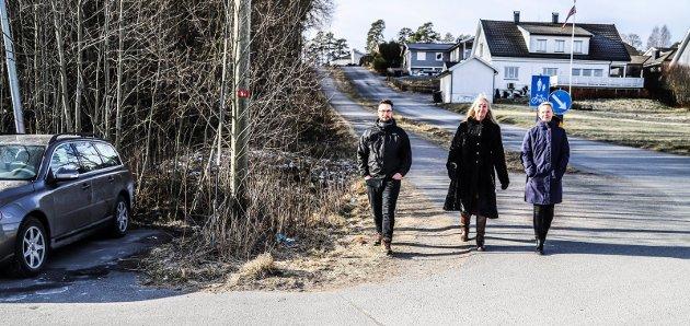 Trafikkfarlig skolevei. Tistedal skole. Her sees Aud Pettersen-Solberg (i midten), Elin Lande og Morten Eylertsen.