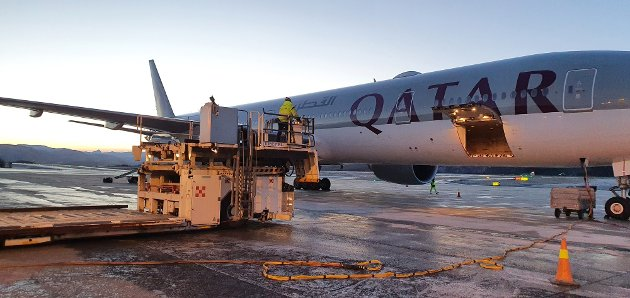 Laks fra Lofoten til Asia lastes i et fly fra Qatar Airways på Evenes lufthavn i desember 2020.