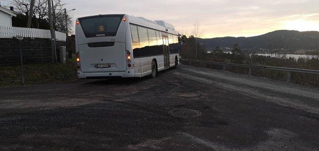 Kritikk: Enkelte beboere i Skafjellåsen mener veiene ikke tåler den ekstra belastningen (bildet er fra «snuplassen» i Furulia, som raskt ble avviklet). Foto: Privat