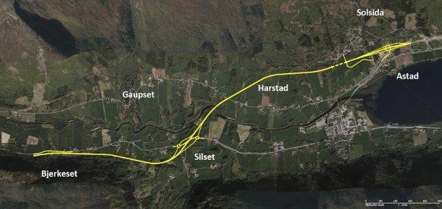 NY E39: På kartet illustrerer Statens vegvesen sin anbefaling av korridor av den nye planlagte strekningen mellom Astad og Bjerkeset. Vegen går utenom Batnfjord sentrum. Forfatteren av innlegget mener denne veien kan vente fordi andre prosjekter er mer nødvendige.