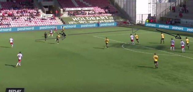 Ett av flere eksempler på Thomas Drage og Ludvig Begbys kombinasjonsspill fikk vi se i forkant av Andreas Hagens 3-0-scoring.