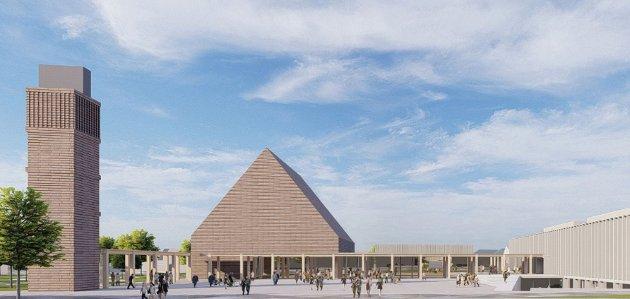 SLIK KAN DET BLI: Dette er et av forslagene til hvordan det kombinerte rådhus-og kirkebygget i Klepp kan se ut.