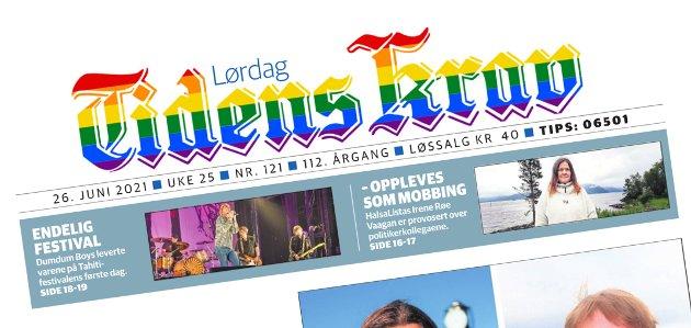 Både på nett og papir har Tidens Krav-logoen fått regnbuefarger denne helga.