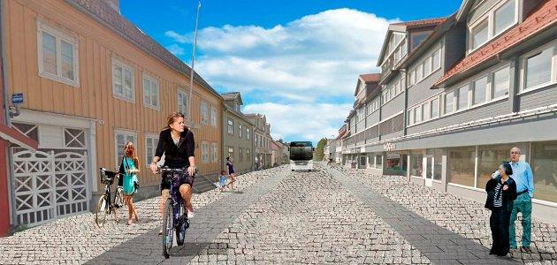 Det er først når Skippergata blir tatt i bruk som gamlebyens hovedgate, at den vil fremstå som en fullverdig markeds- og møteplass. Da kommer også det yrende folkelivet hit, skriver Hallvard Birkeland. Illustrasjonen er fra en tidligere kommunal utredning av bilfri Skippergate.
