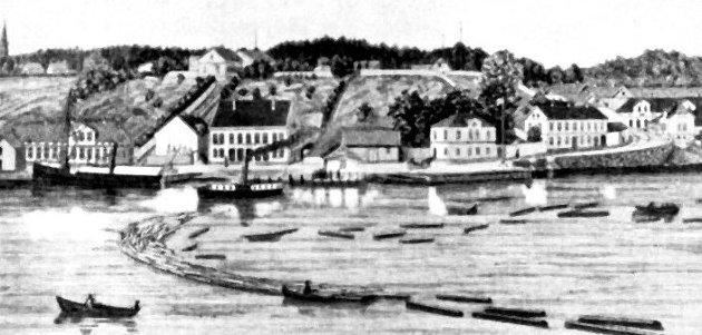 Sandesund. En av Trippebåtene, «Trio», er på vei nedover elva. «D.S. Glommen» ligger ved kai. Tegning av O. Amundsen i Skillingsmagasinet 1885. (Sarpsborg kommunes fotosamling).
