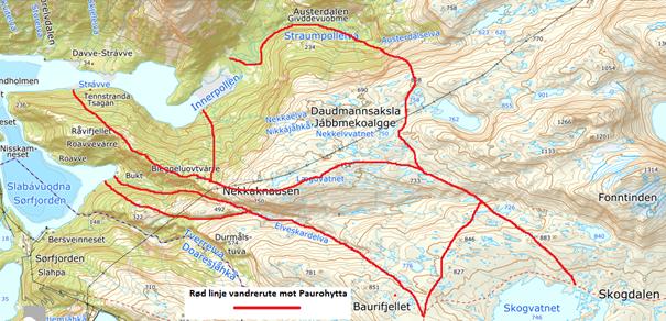 Kart over vandreruter fra Bukta, Tennstranda og Straumpollen og opp i fjellheimen.