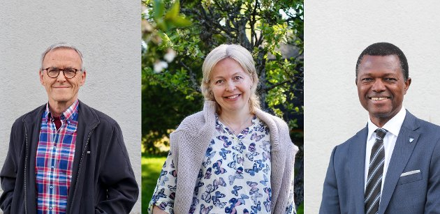 Rolf Ekenes, Kristin Ljøkjel Hansen og Muctarr Koroma i KrF.
