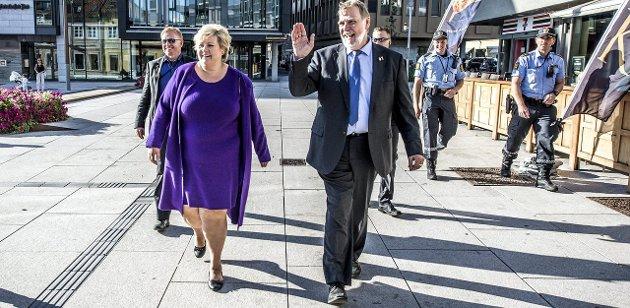 Kommunevalg: Peter Kuran fikk valgkampstøtte fra statsminister Erna Solberg tidligere i uken. Begge Foto: Geir A. Carlsson