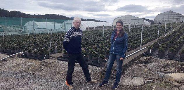 Fra Sunnhordland Planteskule i Valevåg som har gjennom over 60 år blitt utviklet til en av landets ledende planteskuler. Lars Einar Hollund og Liv Kari Eskeland
