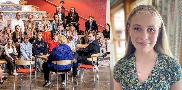 Erna Solberg møtte opp på første skoledag på Langnes skole. Der møtte hun en gruppe elever og blant dem var Iselin Moi, som i innlegget forteller om sitt møte med statsministeren.