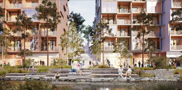 SKISSE: Det utslitte parkeringshuset i Gjøvik sentrum har tjent sin misjon. Men det utgjør et attraktivt areal som har beliggenhet og potensial i seg til å redefinere hele bysentrum.