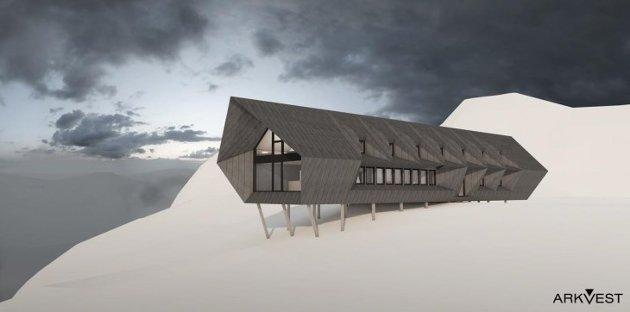 SKANSEN: Illustrasjonsskisse for Skansen turisthytte, som er tenkt plassert på høgheia over Lysefjorden, mellom Flørli og Øygardstølen. Foto: ArkVest