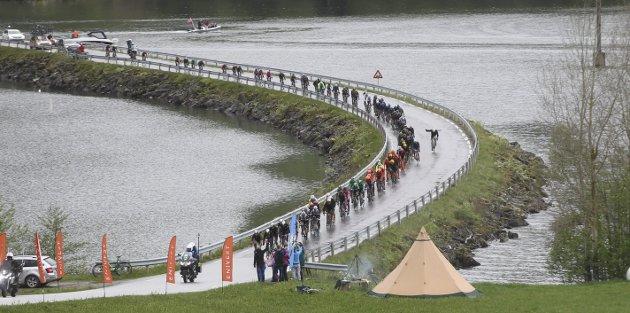 FYLKET VISTE SEG FRAM: Her snor hovudfeltet i årets Tour des Fjords seg over Kjøsnesbrua i Jølster. Foto: Stig Roger Eide