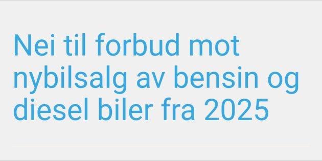 Nei til forbud mot nybilsalg av bensin og diesel biler fra 2025