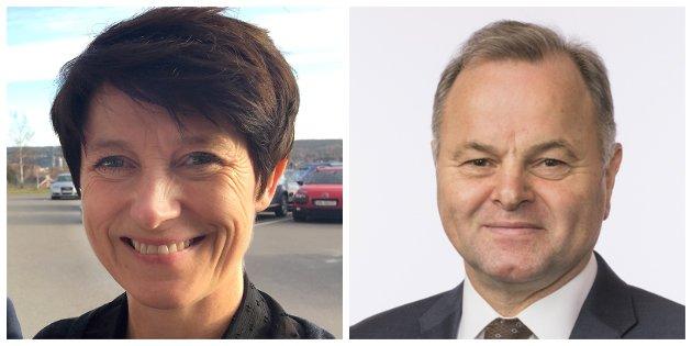 Aud Hove og Olemic Thommessen i debatt om sentralisering.