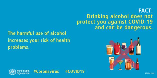 Alkohol beskytter deg ikke mot korona, og kan være farlig, skriver innsenderen.