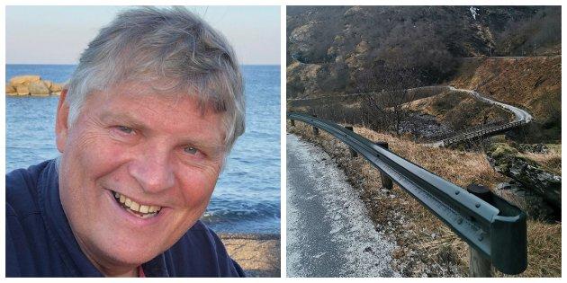 REKKVERK: Arvid Gilje var teknisk sjef i Aurland kommune då dei grøne rekkverka vart innført.