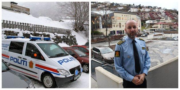 NYE BILAR: Reigionlensmann Magne Straumstein jublar for to nye politibilar.