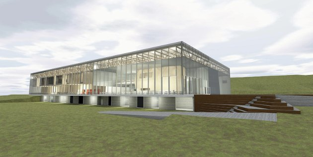 GLASS: Det er tenkt å bygge den nye svømmehallen med store glassflater. Her sett fra vest.