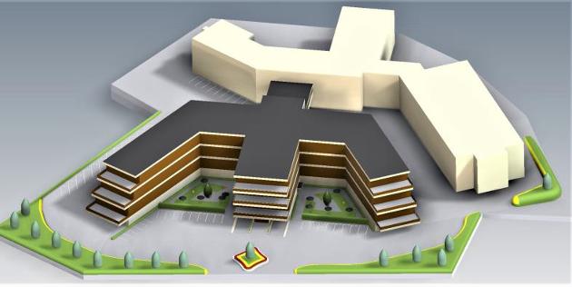 Slik: Oversiktsbilde viser en mulig utforming av nybygg som kan integreres med eksisterende bygningsmasse.