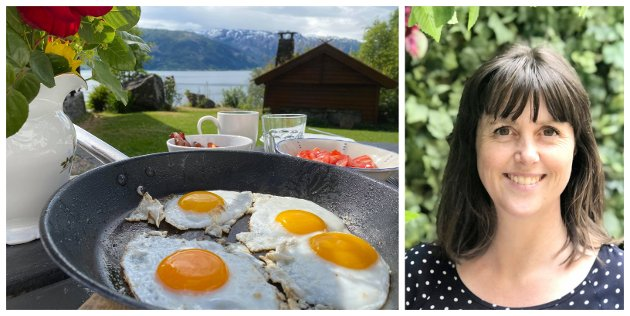 BESTE FROKOSTEN: Speilegg og bacon laget på kjøkkenet i lånehytta, spist utendørs med utsikt over Hardangerfjorden. Spise ute eller spise «hjemme» er en ting som det er lurt å tenke over i ferien, skriver Marie Olaussen.