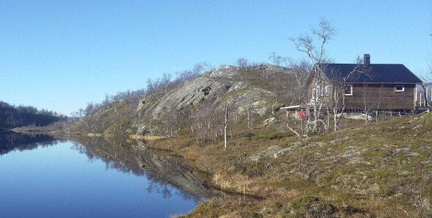 Hytta: Rundt 48 kvadratmeter stor ligger hytta, på samboerparets grunn, et par kilometer fra gården i Grønfjelldal. Foto: Privat