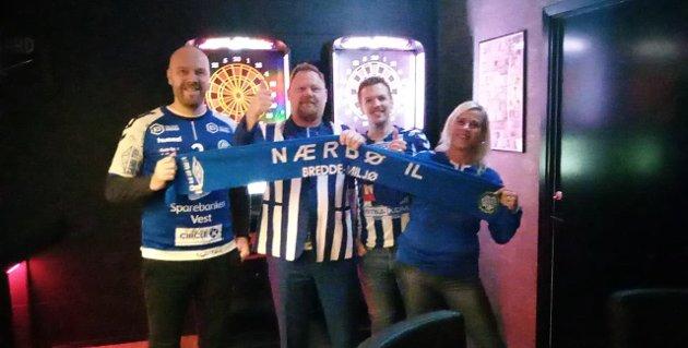 HEIA NÆRBØ: Eivind Røyneberg, Lars krag, Viktor Andersson og Hege søyland feirar NM-sølv.