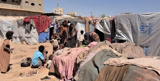 Overfylt flyktningleir i Amran, Jemen 28.januar 2019