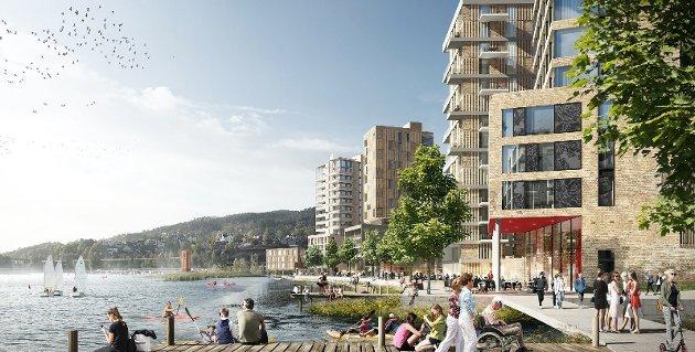 I elva: Innsenderen mener planene for Strandveien 1 i Skedsmo strider mot vedtatte overordnede planer som politikerne har vedtatt tidligere. Illustrasjon: Strandveien 1 Utvikling AS