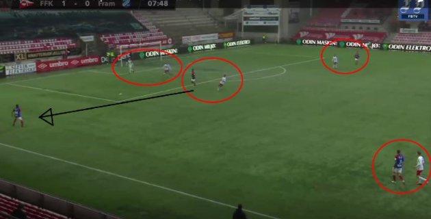 Fram Larvik hadde en idé om å spille seg ut bakfra. Likevel ble de tvunget til å slå langt, grunnet FFKs høye og mannsmarkerende press, som ga hjemmelaget et spillemessig overtak.