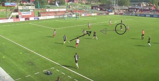 Mye av æren for 1-0-målet må gå til Nicolay Solberg, som skapte store problemer for LFK-forsvaret i forkant med et smart løp inn fra høyre.