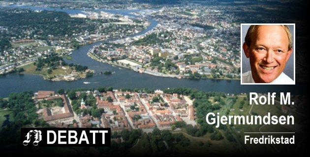 Rolf M. Gjermundsen synes det fra ordførerens side handler mye om områdene fra Grønli til Cicignon, Gamlebyen, Nordre Kråkerøy med Værste og ellers områdene langs elva fra Fredrikstadbrua til Værstebrua. Flyfoto: Jon Petter Evensen