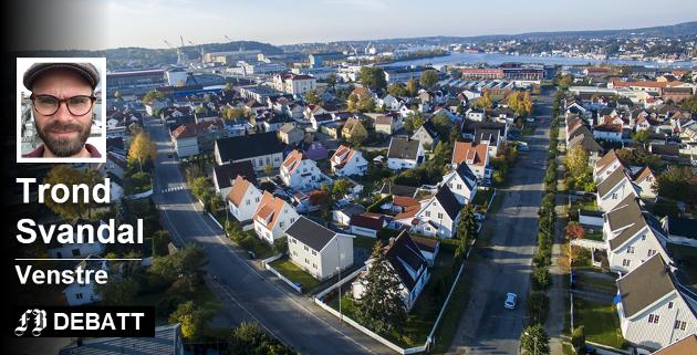 Holmen er et av flere områder rundt Fredrikstad sentrum som må vernes mot fortetting, ifølge Trond Svandal. Det handler omå verne restene av «plnakebyen». Foto: Erik Hagen