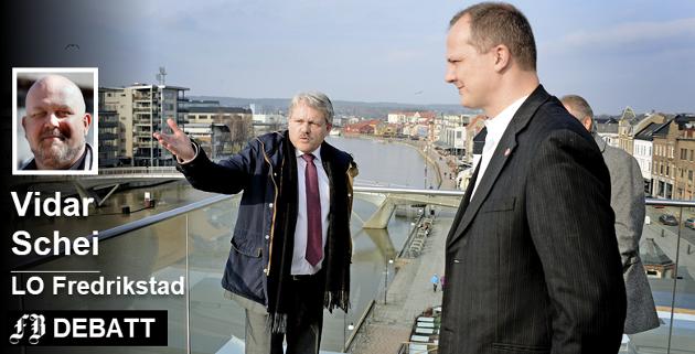 «Slik bør du gjøre, Laabak»: Bjørnar Laabak forklarte samferdselsminister Ketil Solvik-Olsen om Fredrikstads utfordringer under hans besøk   i januar 2014.