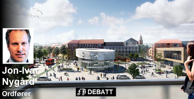 Byens nye knutepunkt? Dette er ett av forslagene til utforming av Grønli stasjon og knutepunkt. Ordfører Jon-Ivar Nygård er sterk tilhenger av at den nye jernebanestasjonen legges så sentrumsnært som mulig. Illustrasjon: Rodeo arkitekter og Norconsult