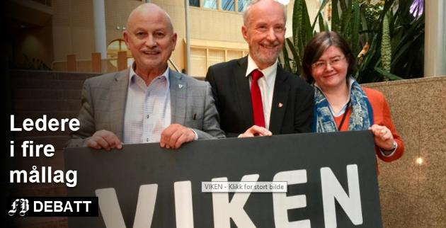 De har frontet Viken: Fylkesordførerne Roger Ryberg i Buskerud (fra venstre), Ole Haabeth,  Østfold, og Anette Solli i Akershus møter krav om at det bli lett å være nynorskbruker i den nye, store fylkeskommunen som kommer fra 2020.